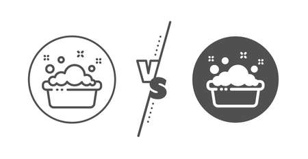 Laundry service sign. Versus concept. Hand washing line icon. Clothing cleaner symbol. Line vs classic hand washing icon. Vector