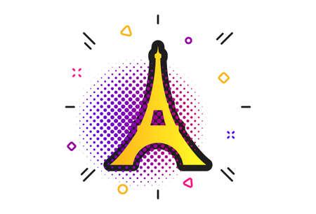 Eiffel tower icon. Halftone dots pattern. Paris symbol. Classic flat paris icon. Vector Ilustracja