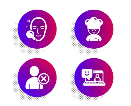 Face search, Delete user and Cooking chef icons simple set. Halftone dots button. Smile sign. Find user, Remove profile, Sous-chef. Laptop feedback. People set. Classic flat face search icon. Vector