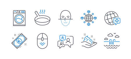 Set of Business icons, such as Logistics network, Face recognition, Support chat, World medicine, Skin care, Frying pan, Washing machine, Euro money, Scroll down, Swimming pool line icons. Vector