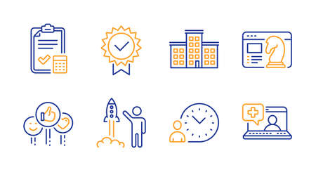 Company, Launch project and Seo strategy line icons set. Time management, Like and Accounting checklist signs. Certificate, Medical help symbols. Building, Business innovation. Vector