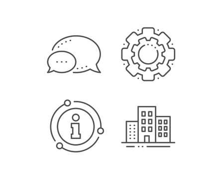 Buildings line icon. Chat bubble, info sign elements. City apartments sign. Architecture building symbol. Linear buildings outline icon. Information bubble. Vector Çizim