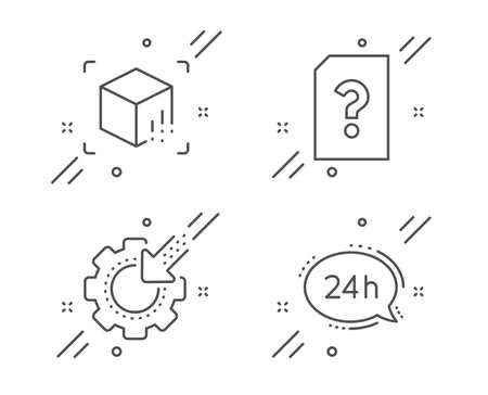 Seo gear, Unknown file and Augmented reality line icons set. 24h service sign. Cogwheel, Doc with question mark, Virtual reality. Call support. Technology set. Line seo gear outline icon. Vector