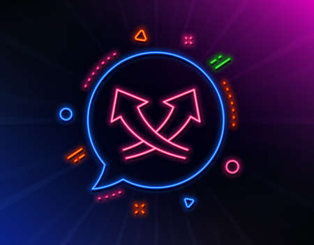 Intersection arrows line icon. Neon laser lights. Exchange and turn, cross sign. Glow laser speech bubble. Neon lights chat bubble. Banner badge with intersection arrows icon. Vector