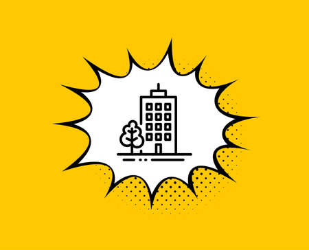 Skyscraper buildings line icon. Comic speech bubble. City architecture with tree sign. Town symbol. Yellow background with chat bubble. Skyscraper buildings icon. Colorful banner. Vector Çizim