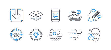 Set of Business icons, such as Idea, Load document, Windy weather, Open box, Travel sea, Car parking, Keywords, Message, Tips, Healthy face line icons. Solution, Download arrowhead. Vector