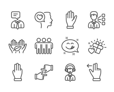 Set of People icons, such as Yummy smile, Shipping support, Touchscreen gesture, Hand, Three fingers, Love gift, Third party, Romantic talk, Click hands, Friendship, Fair trade line icons. Vector