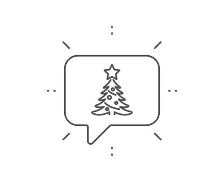 Christmas tree present line icon. Chat bubble design. New year spruce sign. Fir-tree symbol. Outline concept. Thin line christmas tree icon. Vector