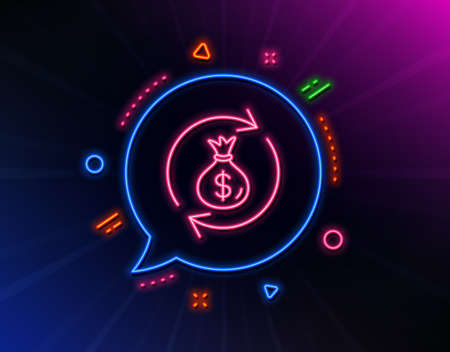 Cash exchange line icon. Neon laser lights. Dollar money bag symbol. Money transfer sign. Glow laser speech bubble. Neon lights chat bubble. Banner badge with money exchange icon. Vector Çizim