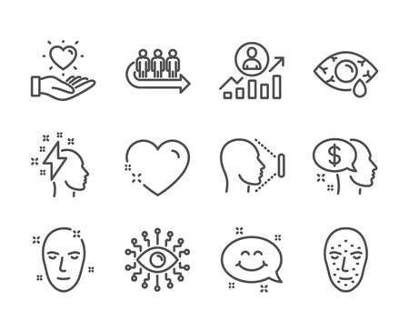 Set of People icons, such as Heart, Brainstorming, Health skin, Hold heart, Smile chat, Ð¡onjunctivitis eye, Queue, Face id, Career ladder, Artificial intelligence, Face biometrics, Pay. Vector