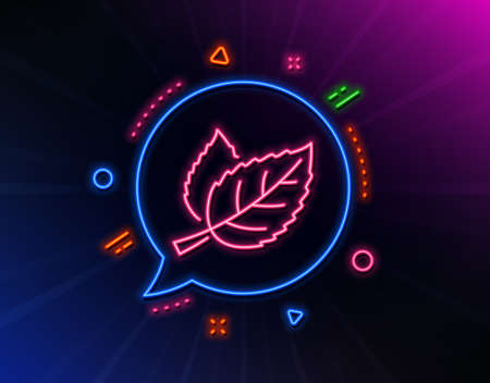 Leaves line icon. Neon laser lights. Nature plant leaf sign. Environmental care symbol. Glow laser speech bubble. Neon lights chat bubble. Banner badge with leaf icon. Vector Çizim