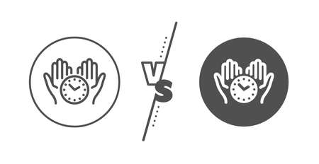 Clock sign. Versus concept. Safe time line icon. Hold watch symbol. Line vs classic safe time icon. Vector Çizim