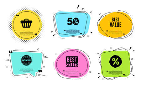 Best value. Best seller, quote text. Special offer Sale sign. Advertising Discounts symbol. Quotation bubble. Banner badge, texting quote boxes. Best value text. Coupon offer. Vector Illustration