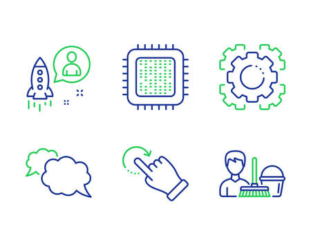 Cpu processor, Rotation gesture and Messenger line icons set. Seo gear, Startup and Cleaning service signs. Computer component, Undo, Speech bubble. Cogwheel. Business set. Vector 일러스트