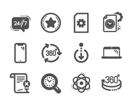 Set of Technology icons, such as Reject certificate, Project deadline, Scroll down, 360 degree, Loyalty star, 360 degrees, 247 service, Smartphone, Time management, Laptop, Atom. Vector