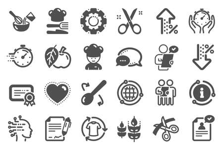 Chef hat, Customer survey, Fast delivery icons. Approved application, Scissors cutting ribbon, Artificial intelligence icons. Percent decrease, interest rate, contract. Quality set. Vector