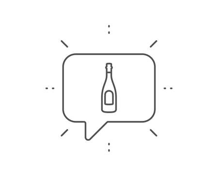 Champagne bottle line icon. Chat bubble design. Anniversary alcohol sign. Celebration event drink. Outline concept. Thin line champagne icon. Vector Vettoriali