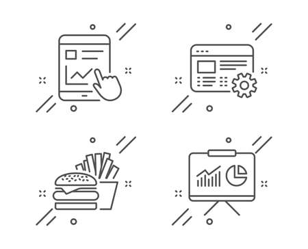 Burger, Internet report and Web settings line icons set. Presentation sign. Cheeseburger, Web tutorial, Engineering tool. Board with charts. Business set. Line burger outline icon. Vector Illusztráció