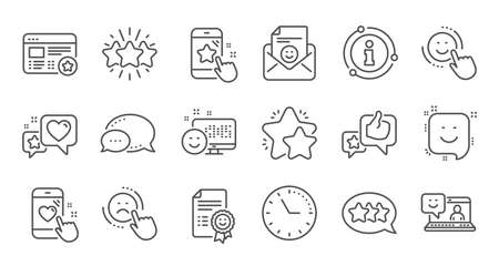 Feedback line icons. User Opinion, Customer service and Star Rating. Customer satisfaction linear icon set. Quality line set. Vector