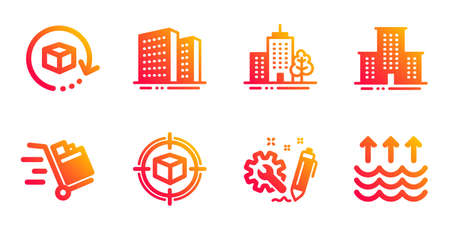 Return package, Buildings and Parcel tracking line icons set. Engineering, University campus and Skyscraper buildings signs. Push cart, Evaporation symbols. Exchange goods, Town apartments. Vector Ilustração
