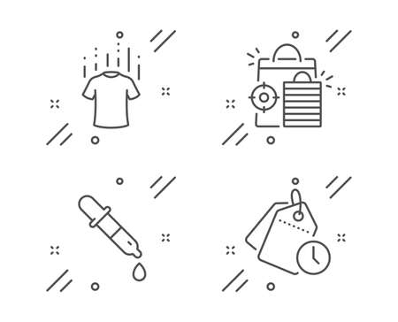 Chemistry pipette, Seo shopping and Dry t-shirt line icons set. Time management sign. Laboratory, Analytics, Laundry shirt. Clock tags. Business set. Line chemistry pipette outline icon. Vector