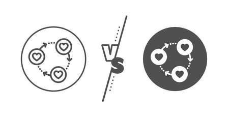 Friendship love sign. Versus concept. Friends community line icon. Assistance business symbol. Line vs classic friends community icon. Vector