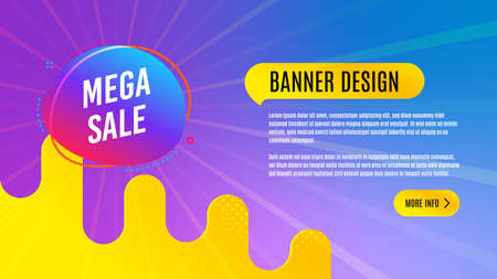 Mega sale badge. Discount banner shape. Coupon bubble icon. Abstract background design. Banner with offer badge. Vector
