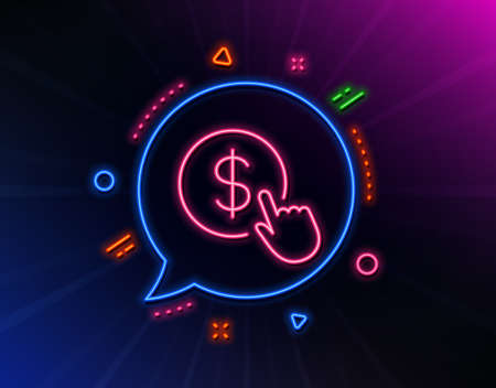 Hand Click line icon. Neon laser lights. Currency exchange sign. Cursor pointer symbol. To pay or get money. Glow laser speech bubble. Neon lights chat bubble. Vector Çizim