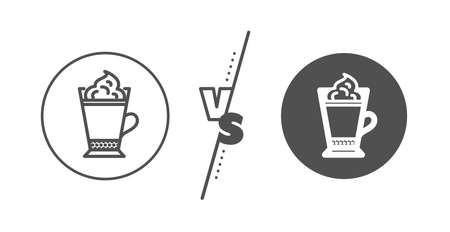 Hot drink sign. Versus concept. Latte coffee with Whipped cream icon. Beverage symbol. Line vs classic latte coffee icon. Vector