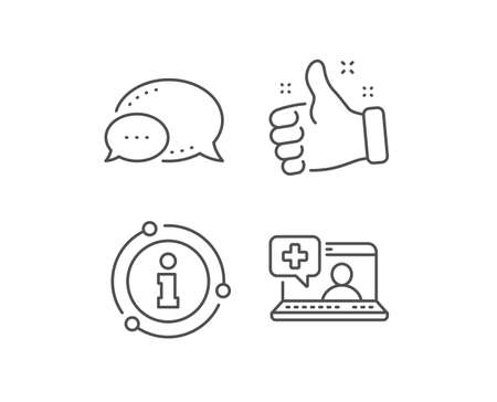 Medicine laptop line icon. Chat bubble, info sign elements. Online medical help sign. Linear medical help outline icon. Information bubble. Vector