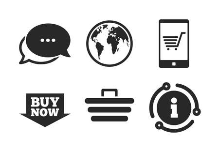 Smartphone, shopping cart, buy now arrow and internet signs. Chat, info sign. Online shopping icons. WWW globe symbol. Classic style speech bubble icon. Vector