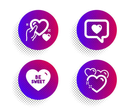 Love message, Be sweet and Hold heart icons simple set. Halftone dots button. Heart sign. Dating service, Love sweetheart. Love set. Classic flat love message icon. Vector Иллюстрация