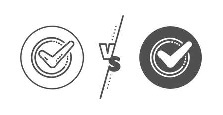 Accepted or Approve sign. Versus concept. Check mark line icon. Tick symbol. Line vs classic confirmed icon. Vector