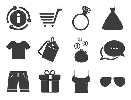 T-shirt, sunglasses signs. Discount offer tag, chat, info icon. Clothes, accessories icons. Wedding dress and ring symbols. Classic style signs set. Vector