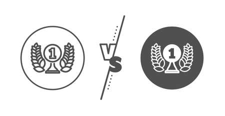 Winner prize symbol. Versus concept. Laureate award line icon. Prize with Laurel wreath sign. Line vs classic laureate award icon. Vector