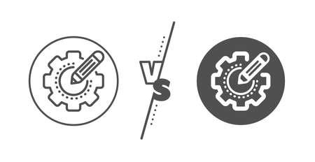 Cogwheel with star sign. Versus concept. Settings gear line icon. Edit working process symbol. Line vs classic settings gear icon. Vector Illusztráció