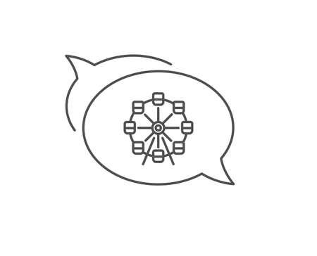 Ferris wheel line icon. Chat bubble design. Amusement park sign. Carousels symbol. Outline concept. Thin line ferris wheel icon. Vector Illustration