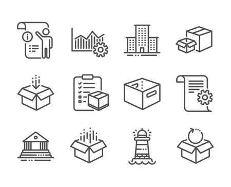 Set of Industrial icons, such as Manual doc, Parcel checklist, Technical documentation, Operational excellence, Open box, Packing boxes, Lighthouse, Office box, Return package line icons. Vector Çizim