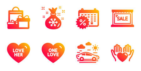 Sale, One love and Car travel line icons set. Shopping, Santa sack and Calendar discounts signs. Love her, Hold heart symbols. Shopping store, Sweet heart. Holidays set. Vector