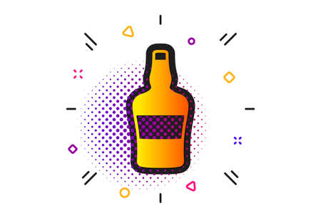 Brandy alcohol sign. Halftone circles pattern. Scotch bottle icon. Classic flat scotch bottle icon. Vector