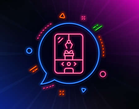 Crane claw machine line icon. Neon laser lights. Amusement park sign. Carousels symbol. Glow laser speech bubble. Neon lights chat bubble. Banner badge with crane claw machine icon. Vector Illusztráció