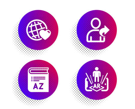 Vocabulary, Friends world and Refer friend icons simple set. Halftone dots button. Augmented reality sign. Book, Love, Share. Phone simulation. Business set. Classic flat vocabulary icon. Vector Stock Illustratie