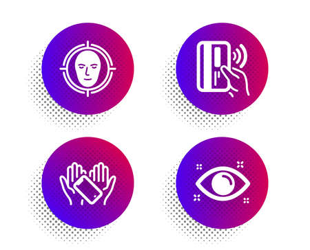 Smartphone holding, Contactless payment and Face detect icons simple set. Halftone dots button. Health eye sign. Phone, Bank money, Select target. Optometry. People set. Vector Çizim