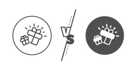Present box sign. Versus concept. Gifts line icon. Brand marketing symbol. Line vs classic gift icon. Vector 일러스트