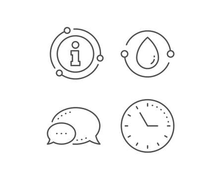 Cold-pressed oil line icon. Chat bubble, info sign elements. Organic tested sign. Water drop symbol. Linear cold-pressed oil outline icon. Information bubble. Vector