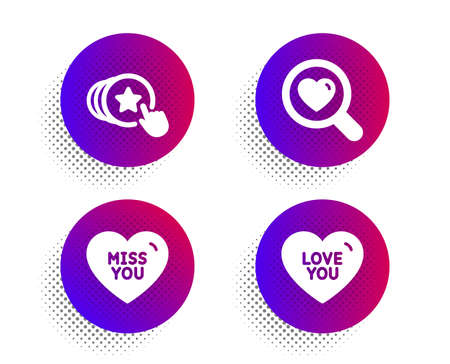 Miss you, Search love and Hold heart icons simple set. Halftone dots button. Love you sign. Dating service, Sweetheart. Love set. Classic flat miss you icon. Vector