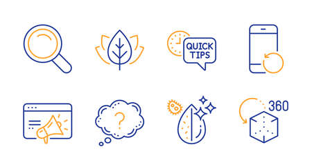 Quick tips, Recovery phone and Organic tested line icons set. Question mark, Dirty water and Search signs. Seo marketing, Augmented reality symbols. Helpful tricks, Backup smartphone. Vector