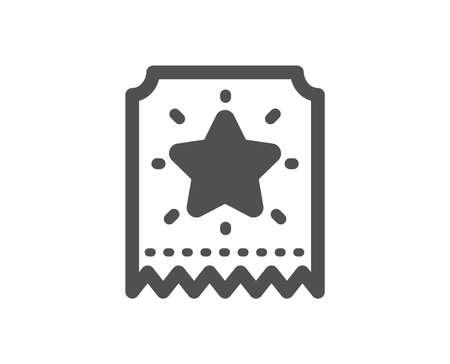 Bonus points. Loyalty star ticket icon. Discount program symbol. Classic flat style. Simple loyalty ticket icon. Vector