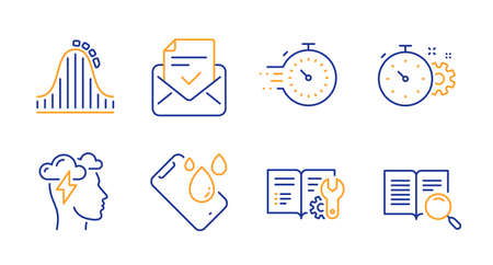 Timer, Smartphone waterproof and Roller coaster line icons set. Cogwheel timer, Mindfulness stress and Approved mail signs. Engineering documentation, Search text symbols. Line timer icon. Vector