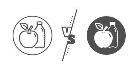 Fruit, water bottle sign. Versus concept. Apple line icon. Natural food symbol. Line vs classic apple icon. Vector